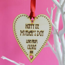Personalised Mother's Day Heart Hanging Decoration Plague Tag Keepsake Gift Idea