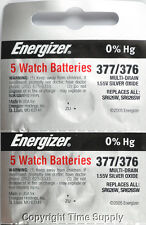 10 pcs 377 / 376 Energizer Watch Batteries SR626SW SR626 0%Hg