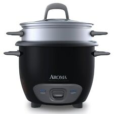 Aroma Housewares 6-Cup (Cooked) Pot-Style Rice Cooker and Food Steamer, Black AR