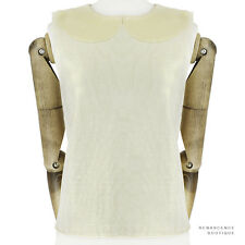Thom Browne Pale Metallic Gold Finish Finely Knit Wool Sleeveless Tank Top 1 UK8