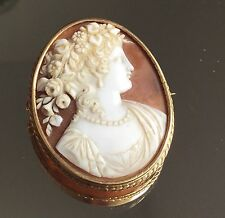 CAMEE ANCIEN Broche Monture Or 18K XIXè ANTIQUE Gold Brooch Shell CAMEO 19th C