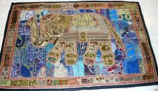 VINTAGE INDIA HAND EMBROIDERY SEQUIN BEADS ELEPHANT WALLHANGING TAPESTRY TRIBAL