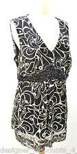Motherhood Maternity black V neck sleeveless tank top blouse beaded SZ XL EUC