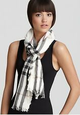 NWT BURBERRY Giant Check Crinkle Scarf Ivory Check
