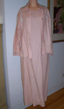 Vintage David Dart 2 Piece Pink Linen Maxi Dress Jacket Ensemble Sz Petite EUC