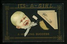 "Novelty Vintage postcard Metal Add-On Safety Pin ""It's A Girl"" Birth baby child"