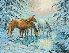 ANCHOR MAIA COLLECTION COUNTED CROSS STITCH KIT SUNLIT STREAM HORSES EMBROIDERY
