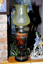 Antique Very Rare Victorian Oil Lamp 1870's Wedgwood Majolica Agate Ware Hinks