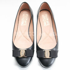 SALVATORE FERRAGAMO 'varina bow flats' black matte leather gold 7 C 7C