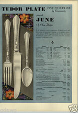 1933 PAPER AD 4 PG Tudor Plate Flatware Silverware June Pattern Plates Tea Cups