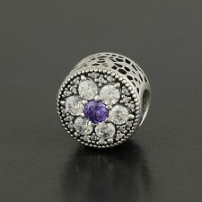 Authentic Pandora Charm Forget Me Not, Purple & Clear CZ No.791832ACZ