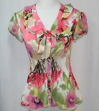 East 5th, Small, Floral Print Ruffle Neck Pleated Top, New without Tags