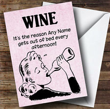 Funny Joke Get Out Of Bed For Wine Personalised Birthday Greetings Card