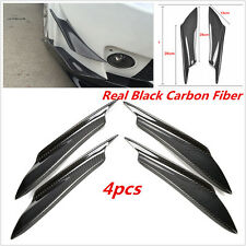 4 pcs Black Real Carbon Fiber Car Front Bumper Splitter Body Spoiler Canards Kit