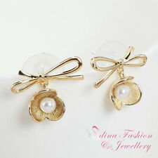 18K Yellow Gold Plated Simulated Pearl Exquisite Bowknot Flower Stud Earrings