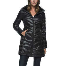 NWT Womens  Black ANDREW MARC Packable Lightweight down JACKET Hood SIZE Large