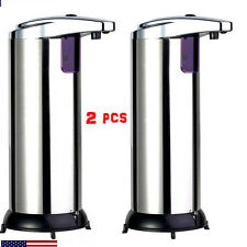 2X Stainless Steel Hands Free Automatic IR Sensor Soap Liquid Dispenser BY