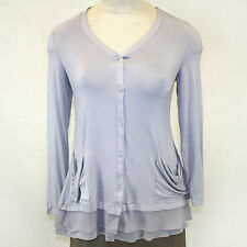 NEW NWOT Logo by Lori Goldstein Trim V-Neck Cardigan Button Down Blouse Gray M