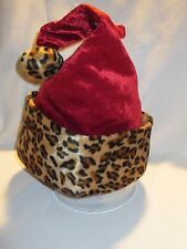 Deluxe Santa Helper Hat Sexy Red Leopard Cheetah Santa Baby NEW One-size