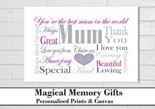 Personalised mothers day print gift word art style mum mother a4 nanna grandma