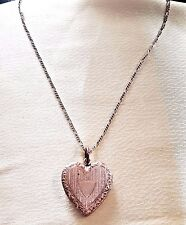 "Antique Victorian Rolled Rose Gold Heart Photo Locket and Chain 20""  10.8gms"
