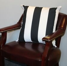 "Black & White Cabana Stripe Cushion Cover 18""x18"""