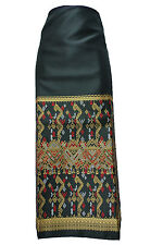 Black Lao Laos Synthetic Silk Compression Fabric Glue for Women Sinh Skirt GF3