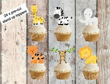 BABY SAFARI Animali 24 tastini STAND UP cup cake wafer carta decorazioni per