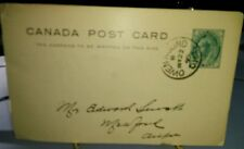 Canada Owen Sound Ontario 1899 One cent postal card to Meaford, Ontario