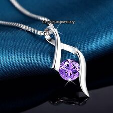 BLACK FRIDAY SALE - 925 Silver Purple Crystal Diamond Necklace XMAS Gift For Her