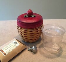 Longaberger 2005 Strawberry Basket Combo: 2-Knobs, Lid, Plastic Container, Liner