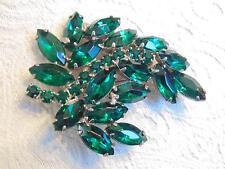 """vtg Emerald Green Oblong Rhinestones Floral Spray Brooch Pin 2 1/4"""""""