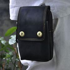 MenCrazy Horse Genuine Leather Fanny Pack Waist  Mobile Phone Case Belt Hook Bag