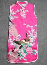 Fuschia Kid Child Girl's Baby Peacock Cheongsam Dress Qipao Size 8 for 5-6 Year