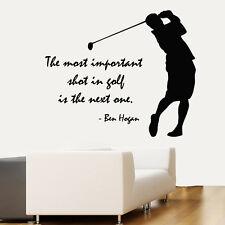 Golfer Wall Decals Quote Golf Player Vinyl Decal Sticker Home Sport Decor kk804