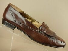 Salvatore Ferragamo Studio Italy Brown Leather Kiltie Wingtip Loafers Mens 10 D