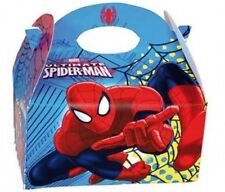 10 Spiderman Food Boxes ~ Picnic Carry Meal Box ~ Kids Birthday Party Bag Plate