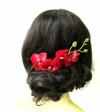 Red Long Orchid Flower Stem Hair Comb Fascinator Headpiece Rockabilly 1950s 1274