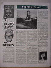 1953 Ted Williams Baseball Star Ad Atlantic Bond Paper Vintage Print Ad 10481