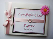 GIRLS CHRISTENING/ NAMING DAY GUEST BOOK WITH FLOWER - ANY COLOUR