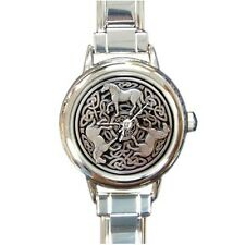 Celtic Horse Knot Round Italian Charm Watch