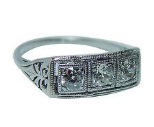 Antique Art Deco Platinum Old European Diamonds 3 stone Ring Estate