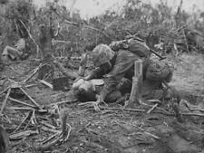 WWII B&W Photo Wounded US Marine Peleliu  World War Two Pacific  WW2 / 1123