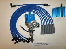 FORD BIG BLOCK 351C-429-460 BLUE Female Small HEI Distributor, Coil & PLUG WIRES
