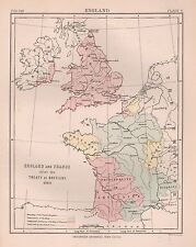1898 antique map england and france après traité de betigny 1360