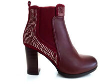 LADIES WOMENS BURGUNDY ANKLE HIGH LEATHER STYLE HIGH HEEL BOOTS SHOES SIZE 7