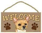 """Chihuahua Dog Tan 10"""" x 5"""" Wooden Welcome Sign New!!"""