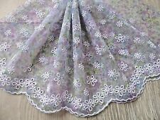 """9""""~1.5Y~Embroidered Venise Lace Trim White Daisy Print Lavender Doll Wedding"""