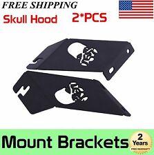 """Skull Hood Mounting Brackets For 21""""-22"""" LED Work Light Bar Jeep Wrangler J"""