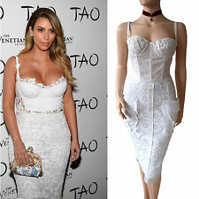 DOLCE & GABBANA COUTURE white macrame lace corset bustier DRESS size 10 6 42 D&G
